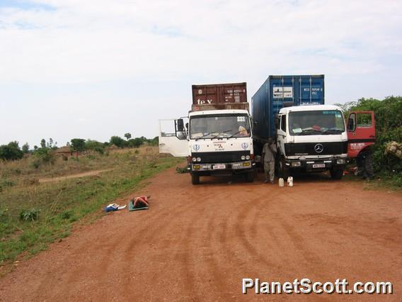 Camping out with the trucks, Zambia